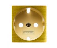 Накладка на розетку FEDE коллекции FEDE, скрытый монтаж, с заземлением, real gold/бежевый, FD04314OR-A