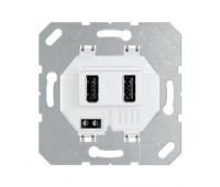 Розетка 2xUSB Jung, скрытый монтаж, белый, USB3-2WW