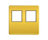 Накладка на мультимедийную розетку FEDE, скрытый монтаж, real gold/черный, FD04318OR-M