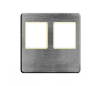 Накладка на мультимедийную розетку FEDE, скрытый монтаж, nickel satin/бежевый, FD04318NS-A