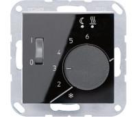 Термостат для теплого пола Jung А-СЕРИЯ, с датчиком, черный, FTRA231SW
