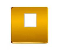 Накладка на мультимедийную розетку FEDE, скрытый монтаж, real gold/бежевый, FD04317OR-A
