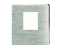 Накладка на мультимедийную розетку FEDE, скрытый монтаж, nickel satin/бежевый, FD04317NS-A