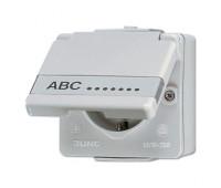 Розетка Jung AP600, открытый монтаж, с заземлением, серый, 620NAW