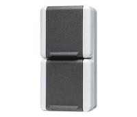 Розетка двухместная Jung WG800, с заземлением, серый, 822W