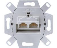 Механизм розетки компьютерной 2xRJ45 Jung, скрытый монтаж, UAE8-8UPOK5