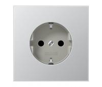 Розетка Jung LS METAL, скрытый монтаж, с заземлением, алюминий, AL2520