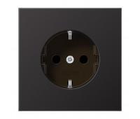 Розетка Jung LS METAL, скрытый монтаж, с заземлением, со шторками, антрацит, AL1520KID