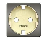 Накладка на розетку FEDE коллекции FEDE, скрытый монтаж, с заземлением, bright chrome/бежевый, FD04335CB-A