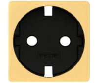 Накладка на розетку FEDE коллекции FEDE, скрытый монтаж, с заземлением, real gold/черный, FD04335OR-M