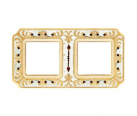 Рамка 2 поста FEDE CRYSTAL DE LUXE, gold white patina, FD01352OPCL