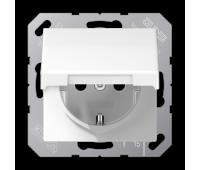 Розетка Jung AS 500, скрытый монтаж, с заземлением, с крышкой, со шторками, белый, AS1520KIKLWW