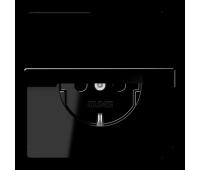 Розетка Jung LS 990, скрытый монтаж, с заземлением, с крышкой, черный, LS1521KLSW