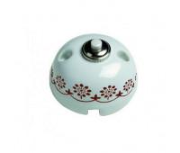 Выключатель 1-клавишный кнопочный Fontini GARBY, белый/коричневый, 30310132