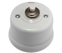 Выключатель 1-клавишный кнопочный Fontini GARBY, белый/коричневый, 30312132
