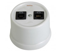 Розетка телефонная+компьютерная RJ12+RJ45 Fontini GARBY, открытый монтаж, белый, 30708172