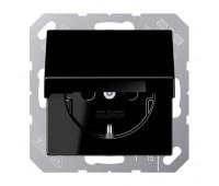 Розетка Jung А-СЕРИЯ, скрытый монтаж, с заземлением, с крышкой, черный, A1520KLSW