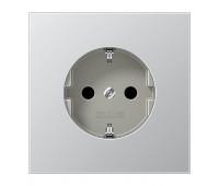 Розетка Jung LS METAL, скрытый монтаж, с заземлением, со шторками, алюминий, AL2520KI