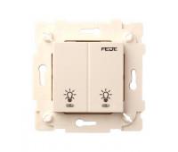 Выключатель сенсорный 2-клавишный FEDE коллекции FEDE, бежевый, FD28602-A