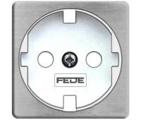 Накладка на розетку FEDE коллекции FEDE, скрытый монтаж, с заземлением, nickel satin/белый, FD04314NS