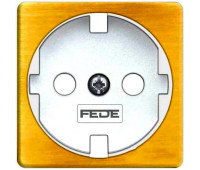 Накладка на розетку FEDE коллекции FEDE, скрытый монтаж, с заземлением, bright patina/белый, FD04314PB