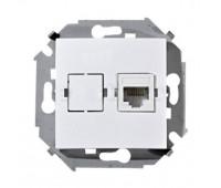 Розетка телефонная+компьютерная RJ11+RJ45 Fontini DO, открытый монтаж, белый, 33708172