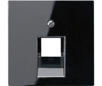 Накладка на розетку информационную Jung А-СЕРИЯ, скрытый монтаж, черный, A569-1PLUASW