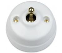 Выключатель тумблерный двухполюсный Fontini DIMBLER, золото/белый, 60314632