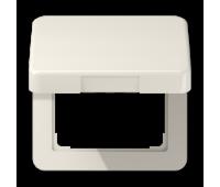 Накладка на розетку Jung CD 500, скрытый монтаж, с заземлением, с крышкой, бежевый, CD590KL