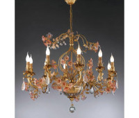 Люстра   Epoca Lampadari 1411/10 dec. 732 pink flowers  Античная золотая фольга, светлый (пр-во Италия)