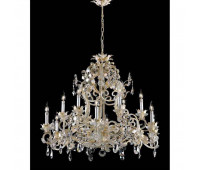 Люстра   Epoca Lampadari 1398/12 dec. 452 smoke crystal  Золотая фольга, янтарный, белый (пр-во Италия)