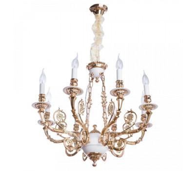 5043, Светильник подвесной Arte Lamp A7024LM-8WG LUISA  Бело-золотой (пр-во Италия), A7024LM-8WG LUISA, Arte Lamp, Люстры