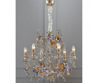 Люстра   Epoca Lampadari 1422/6 dec. 842 lilac crystal  Античная, серебряная фольга и золотая фольга (пр-во Италия)