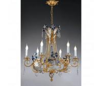 Люстра   Epoca Lampadari 1418/6 dec. 722 blue crystal  Античная, серебряная фольга и золотая фольга (пр-во Италия)