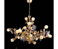 Люстра   Epoca Lampadari 1416/21 dec. 723 lilac crystal  Античная серебряная фольга, античная золотая фольга, розовый (пр-во Италия)