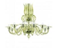Люстра Barovier&Toso Barovier 5306/12/EL  Хром и стекло ручной работы цвета лайма (liquid citron) - el (пр-во Италия)