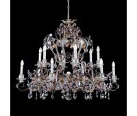 Люстра   Epoca Lampadari 1398/12 dec. 843 amethyst crystal  Серебряная фольга, янтарный (пр-во Италия)