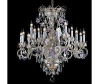 Люстра   Epoca Lampadari 1419/12+4 dec. 841 lilac crystal  Серебряная фольга, слоновая кость (пр-во Италия)