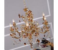Люстра   Epoca Lampadari 1413/6 dec. 725 amber crystal  Золотая фольга с серебряной фольгой (пр-во Италия)