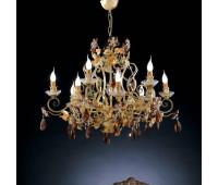 Люстра   Epoca Lampadari 1417/6+6 dec. 532 amber crystal  Золотистый, зеленый, светлый, оранжевый (пр-во Италия)