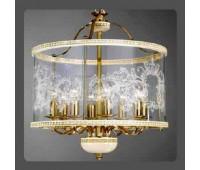 Подвесной светильник La Lampada L 386/8.26 Ivory Gold+Wood  Слоновая кость (пр-во Италия)