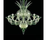 Люстра Barovier&Toso Barovier 5307/12/EL  Хром и стекло ручной работы цвета лайма (liquid citron) - el (пр-во Италия)