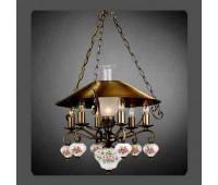 Подвесной светильник La Lampada L 118/6+1.40 Ceramica Rosa   Бронза (пр-во Италия)