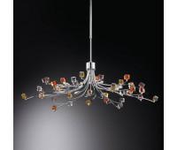 Подвесной светильник IDL 371/9S Multikolor  Хром,прозрачный,аметист,оранжевый,янтарь (пр-во Италия)