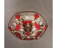 Потолочный светильник MM Lampadari 6740/P6  Темный орех с золотом,красный,прозрачный (пр-во Италия)