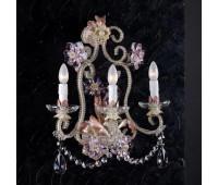 Бра   Epoca Lampadari 1430/A3 dec. 571 pink crystal  Серебряная фольга, слоновая кость, розовый (пр-во Италия)
