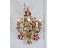 Бра   Epoca Lampadari 1422/A3 dec. 516 red crystal  Античная, золотая фольга и светло-зеленый (пр-во Италия)