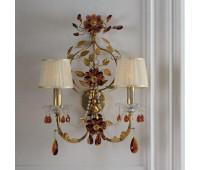 Бра   Epoca Lampadari 1394/A2P dec. 910 amber + amethyst crystal  Античная, золотая фольга, зеленая патина (пр-во Италия)