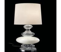 Настольная лампа Barovier&Toso Barovier 5678/BC/BB  Хром и стекло ручной работы белого глянцевого и прозрачное рифленое (пр-во Италия)