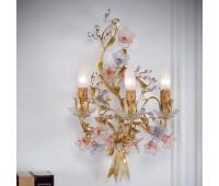 Бра   Epoca Lampadari 1407/A3 dec. 582 lilac + pink flowers  Светлый с золотым вкраплением (пр-во Италия)